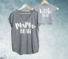 Mama Bear + Little Bear T-shirt Heather Grey Set of 2, Mama Bear V-Neck T-shirt, Baby Bear T-shirts or Bodysuit, Baby shower gift