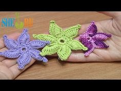 How To Crochet Flower Thick Petals With Picot Tutorial 45 (6-petal swirl flower motifs with a puffy leaf)....cool!!