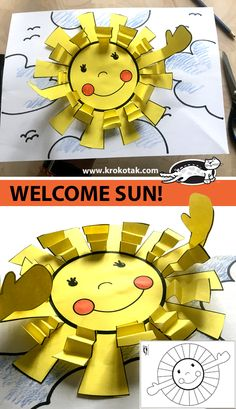 WELCOME SUN! children activities, more than 2000 coloring pages Diy And Crafts, Crafts For Kids, Arts And Crafts, Wood Crafts, Spring Activities, Activities For Kids, Diy With Kids, Art Lessons For Kids, Preschool Art