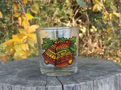 Happy Holidays Tumbler Glass, Vintage Bells and Ornament Design 3.5 inches