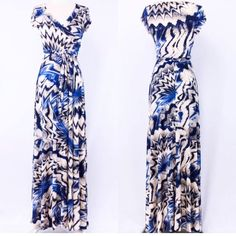 Mixed Print Wrap Maxi Dress  S M L Beautiful mock wrap dress with cap sleeves and self tie belt. Wrinkle resistant maxi dress. Full length. Sizes: S M L available. Comment below with size and I will create a separate listing for you to purchase. Dresses Maxi