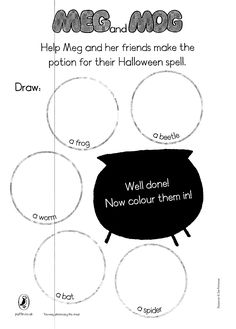 Can you draw all the ingredients for Meg's Halloween spell? Halloween Spells, English For Beginners, Pokemon Coloring Pages, Class Activities, Book Week, Picture Cards, You Draw, Home Schooling, Eyfs