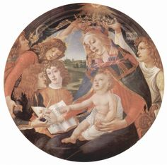 Our updated Terms of Use will become effective on May 25, 2012. Find out more.    Sandro Botticelli  Madonna of the Magnificat  Deutsch: Madonna del Magnificat, Szene: Maria mit Christuskind und fünf Engeln, Tondo  1483-1485