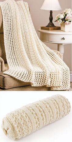 Knitting Pattern for Easy Rib Afghan and Bolster - Easy pattern for textured blanket and matching cushion. Quick knit in bulky yarn. Afghan: 44″ x 66″ Bolster: 20″L x 19″ in circumference