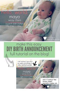 make this easy DIY birth announcement at home with no fancy software - via the sweetest digs