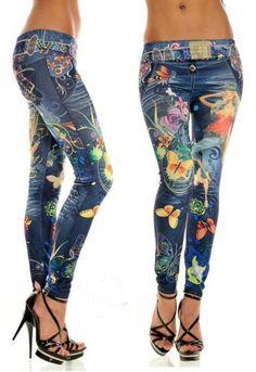 2d542cd64 women leggings Imitation cowboy printed leggings Single yard fitness for  women sexy ladies butterfly pants