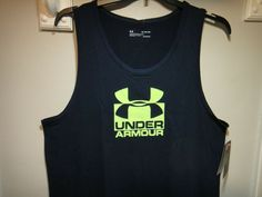 Under Armour Heatgear Loose Fit. Color Dark Blue / With Fluorescent Green Logo. Size X-Large. Under Armour Backpack, Green Logo, Workout Tank Tops, Golf Outfit, Tank Top Shirt, Loose Fit, Colorful Shirts, Dark Blue, Fitness