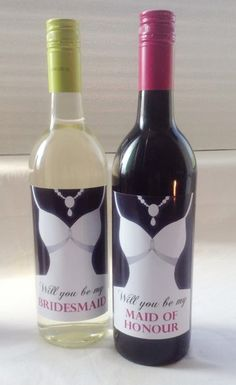 Will you be my Bridesmaid and Maid of Honour Wine Bottle Labels.