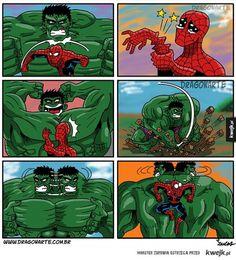 Hulk i Spiderman Bd Comics, Marvel Dc Comics, Marvel Heroes, Funny Comics, Marvel Jokes, Humor Batman, Phineas Y Ferb, Hulk Comic, Marvel Avengers Assemble