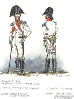 Italy; 7th Line Infantry, Colonel c.1810 & Voltigeur Officer c.1814