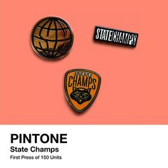 """This collaboration with State Champs includes three pins and has a first pressing that is limited to 150 sets. The pins are 1"""" in size. Each are made of soft enamel and fastened with a butterfly clutc"""