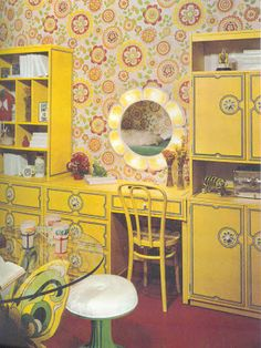 """""""They call me mellow yellow, quite rightly . quite wrongly Retro Room, Vintage Room, Bedroom Vintage, Vintage Decor, Retro Vintage, Modern Retro, Retro Chic, Vintage Girls, 70s Bedroom"""