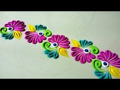 Bright and attractive floral border rangoli Rangoli Side Designs, Easy Rangoli Designs Diwali, Rangoli Simple, Mehndi Designs Book, Rangoli Designs Latest, Simple Rangoli Designs Images, Rangoli Borders, Free Hand Rangoli Design, Small Rangoli Design