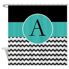 black and turquoise shower curtain. Black Turquoise Chevron Damask Monogram Shower Cur for  Our Home Pinterest chevron Damasks and
