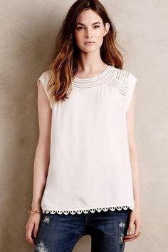 blouse. Anthropologie. white. short-sleeves. work. 1st day. 7/17/2006.