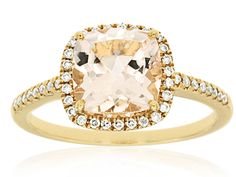 Morganite Ring features 0.18 ct of Diamond and 2 ct of Morganite. The Ring is made of 14K Yellow Gold