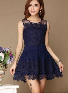 Fashion Hollow Out Hook Flower Lace Skirt -