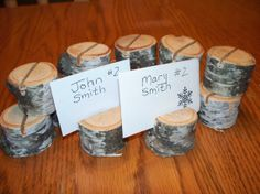 Set of 12 White Birch PLace Card HoldersWedding by Northwoodswood, $12.50