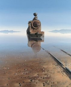 """amazing photo of a train now abandoned that seems to be rising from the haunted waters of a lake , great landscape photo imagery Keith Alexander. """"The truth is, most of us discover where we are headed when we arrive. Abandoned Train, Abandoned Mansions, Abandoned Buildings, Abandoned Places, Abandoned Vehicles, Abandoned Castles, Haunted Places, Old Trains, Train Tracks"""
