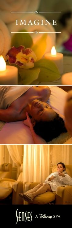 """Imagine all the possibilities at Senses – A Disney Spa. Awaken the senses with our Citrus and Mint Hydrating Body Treatment followed by an aromatherapy massage. Then top it off with an energizing pedicure. It's the perfect way to add a little """"me-time"""" to your Disney vacation. Book by calling: 407-WDW-SPAS. Services subject to change. #DisneyWorld #SensesSpa #Massage"""
