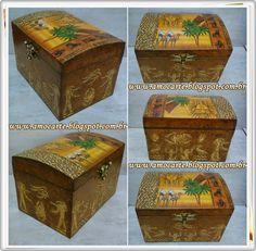 Peça organizadora - Baú Egito com detalhe em relevo - mdf madeira http://www.amocarte.blogspot.com.br/
