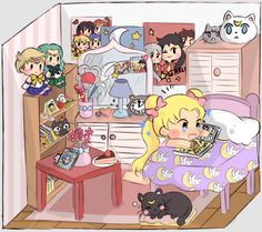 "shiny-jolteons: "" usagi's room "" Sailor Moons, Sailor Moon Tumblr, Arte Sailor Moon, Sailor Moon Fan Art, Sailor Moon Usagi, Sailor Moon Crystal, Princesa Serena, Manga Anime, Manga Art"