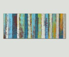 Landscape Abstract painting  Colorful Wooden por RonaldHunter, $439.00