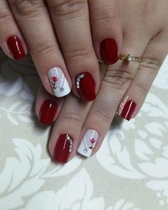 Pin on Manicures Aycrlic Nails, Red Nails, Manicure And Pedicure, Cute Nails, Pretty Nails, Nail Nail, Holiday Nails, Christmas Nails, Nagel Gel