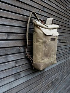 Waxed canvas rucksack / waterproof backpack with roll up top