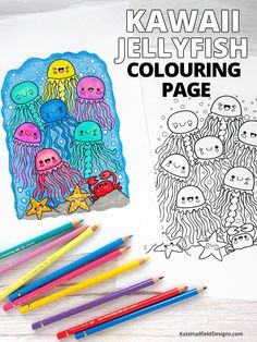 Kawaii under-the-sea themed colouring page! This cute jellyfish printable is a really fun colouring project for both kids and alike. Free download from Kate Hadfield Designs. Coloring Tips, Cool Coloring Pages, Coloring For Kids, Adult Coloring Pages, Coloring Sheets, Sea Creatures Drawing, Creature Drawings, Drawing Prompt, Jellyfish