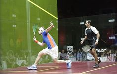 """James Willstrop (left) vs Amr Shabana (right) at the 2012 """"Showdown at Symphony"""""""