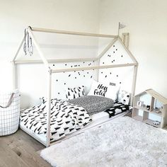 """The ultimate toddler room set up! Dream house bed frame, low mattress on floor and grand DockATot. @sophiavictoriajoy """"Yay! Felix's house bed is officially put together! (Just need to sort little plug switches and a baby gate before bedtime)"""" #toddlerroom #kidsroom #decor #toddlerfun #dockatot"""
