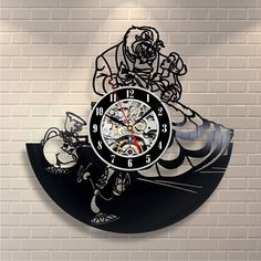 Beauty and Beast Belle Cartoon Vinyl Record Design Wall Clock - Decorate your home with Modern Beauty and the Beast Art - Best gift for him and her, girlfriend or boyfriend - Win a prize for feedback