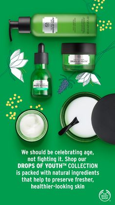 While there is no miracle product or potion that can reverse the signs of ageing, our Drops of Youth range is the next best thing. Best Body Shop Products, Best Makeup Products, Body Shop At Home, The Body Shop, Body Shop Skincare, Beauty Haven, Glass Skin, Facebook Party, Beauty Boutique