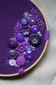Purple buttons in embroidery hope. i probably need to find some more purple buttons. Oh and i have a pin somewhere that tells you how to dye buttons - and i have lots of white buttons =] Purple Love, All Things Purple, Shades Of Purple, Purple Stuff, Deep Purple, Purple Hearts, Purple Colors, Button Art, Button Crafts