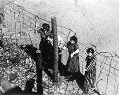 Bergen-Belsen, Germany, Women Survivors Next to Barbed Wire Fences, April 1945