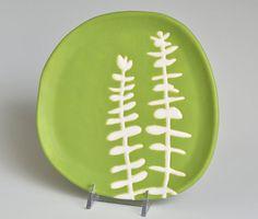 appetizer or dessert plate - eucalyptus in chartreuse green - home decor and serving dish Ceramic Decor, Ceramic Clay, Ceramic Plates, Decorative Plates, Pottery Plates, Ceramic Pottery, Slab Pottery, Pottery Art, Keramik Design