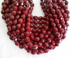 Lot of 25 8mm Czech Opaque Blood Red faceted, round, firepolished glass beads, C42125