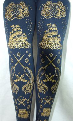 Pirate Printed Tights Narwhal Tattoos Medium Tall Gold on Navy Blue Women Nautical Tattoo Sailor Octopus Squid Anchor. $25.65, via Etsy.