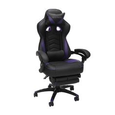 Respawn 110 Racing Style Reclining Gaming Chair with Footrest - On Sale - Overstock - 22848763 - Black Gamer Chair, Desk Chair, Gaming Furniture, Office Furniture, Pad Design, Ergonomic Chair, Support Pillows, Sit Back And Relax, Bonded Leather