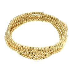 The 14K plated gold 3mm beaded bracelet is a three in one. A beaded wrap bracelet that wraps five times around your wrist and a necklace that can be worn long or doubled. A perfect piece to bring on vacation or any trip because it can change with your outfits. They are strung on an elastic chord which makes it one size fits all and no clasps to get in the way. Great gift for the woman on the go.