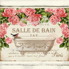 Vintage Salle De Bain Pink Victorian Roses Large Instant Digital Download Printable French Bathtub Graphic Art Transfer Image 0091