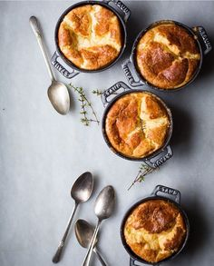 Cheese soufflés on a Monday are an unexpected but idea! Beautifully baked by @brookebasspdx in Staub mini cocottes (which you can find at zee link in bio). Keep tagging your Shop goods #f52homeand we'll regram our favorites! by food52