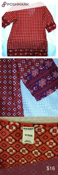 """Old Navy Tunic XL Batik print tunic 3 quarter length sleeve pair with leggings or skinny jeans for an """"XpressoStyle"""" Old Navy Tops Blouses"""
