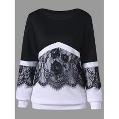 Plus Size Eyelash Lace Trim Two Tone Sweatshirt Great reputation fashion retailer with large selection of womens & mens fashion clothes, swimwear, shoes, jewelry, accessories selling at a cheap price. Cheap Fashion, Trendy Fashion, Plus Size Fashion, Winter Fashion, Womens Fashion, Fashion Trends, Fashion Black, Stylish Outfits, Fashion Outfits
