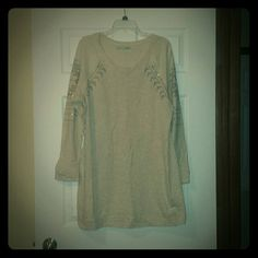 Maurices Sweater Dress Maurices Sweater Dress with bling, cream color with sliver accents, light weight sweatshirt material, size XL. Great condition. Maurices Dresses Long Sleeve