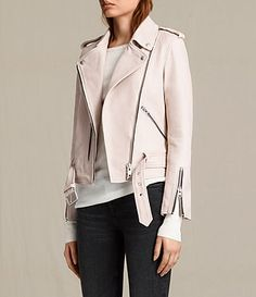 AllSaints Women's Balfern Leather Biker Jacket (Wshd Pink)