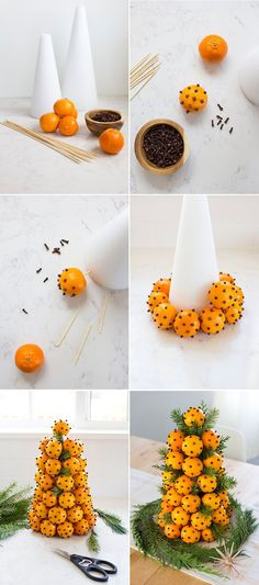 How to Make an Orange & Clove Christmas Topiary - How to Make an Orange & Clove Christmas Topiary Orange Clove Holiday Topiary Christmas Topiary, Noel Christmas, Green Christmas, Christmas Projects, All Things Christmas, Winter Christmas, Handmade Christmas, Holiday Crafts, Simple Christmas