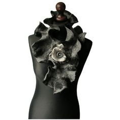 Felted collar felted scarf felt scarf felt collar grey black felt... ($51) ❤ liked on Polyvore featuring accessories and scarves