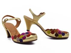 Colorful suede dots! Gold leather! Chie Mihara's Enty makes dressing up big fun! xo, Ped Shoes.